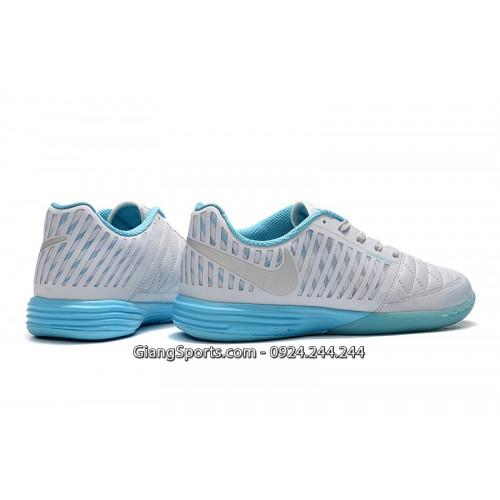 Giày futsal Nike Lunar Gato II trắng đế xanh trời IC